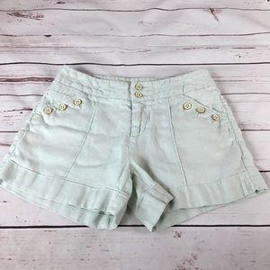 Anthropologie Eidra Mint Green Linen Shorts Size 2